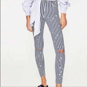 Zara Stripe High Rise Skinny Jeans Ripped Knee 4
